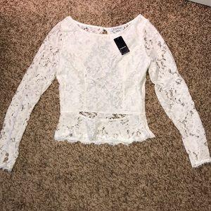 Bebe white lace top sz 0